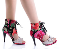 Wholesale 2016 NEWEST sexy woman Satin cloth bow fish head cool boots sandals size US