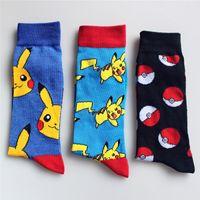 Wholesale Poke Go Pikachu Cotton Socks Unisex Cartoon Pocket Monster Pikachu Squirtle Charmander Cotton Fashion Socks Outdoor Sport Socks