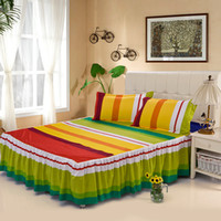 Wholesale home textile single bed skirt spreads set fitted sheet sheets queen and king size bed cover cotton B