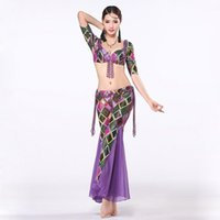 belly dance costume patterns - Belly Dance Training Set Geometric Patterns Push Up Bra B C CUP with Beads Tassel Flare Trousers Women Costume Top and Pants