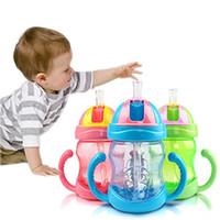Wholesale 280ml Baby Kids Cute Cup Children Learn Feeding Drinking Water Straw Handle Bottle BPA Free Drinking Bottle