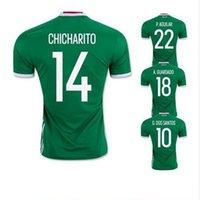 Tailandia Calidad México 2016 Copa América Home Verde Camisetas de fútbol Chicharito J.Hernandez C.Vela M.Layún G.Dos Santos Camisetas de futbol
