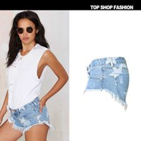 Wholesale 2016 beach vacation short shorts Women s European and American style nightclub star printed fringed denim shorts European stations