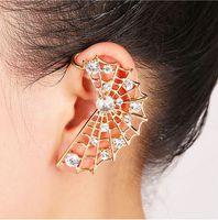 Wholesale Personality New Design Golden Silver Plated Cobweb Left Ear Cuff Metal Crystal Earrings Earhook Jewelry Women s Fasion Jewelry