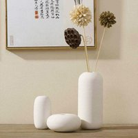 ceramic flower vase - Pure Handmade Porcelain Set Flower Vases Pot Pack Luxury Modern Style Decorative Ceramic Art Vase White Home Décor