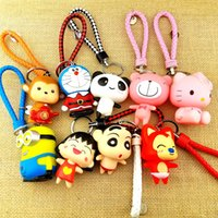 Wholesale 3D Lovely PVC Cartoon Key Rings Keychain With Leather Strap Car key Pendants Bag Accessories Childrens Toys Promotional Gifts