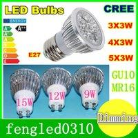 Wholesale High power CREE Led Lamp W W W Dimmable GU10 MR16 E27 E14 GU5 B22 Led spotLight led bulb downlight