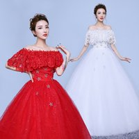 Wholesale Half Sleeve New Design Korean Style Chinese Lace Red Vintage Wedding Dress One Word Ball Gown Bridal Dress