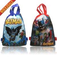 batman drawstring backpack - Min Quantity Batman Children Cartoon Drawstring Backpacks School Bags Shopping Bags Kids Party Bags cm Best Gift for Kids
