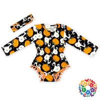 baby clot - 5 color infant clot baby Halloween Rompers cartoon pumpkin printing Jumpsuits cotton Long Sleeve Rompers and headband set Kids Clothing
