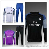 Wholesale The new round neck Real Madrid training suit suit trousers white blue purple trousers black trousers