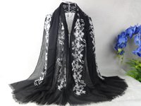 Wholesale Women Scarves Embroidery Cotton Scarf Winter Long Scarf Muslim Cape Muslim Hijab Poncho Cape
