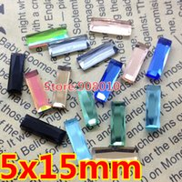 Wholesale 200pcs x15mm Flat Back Rectangle Fancy Crystal Stones Baguette Glass Crystals rainbow crystal clear Aquamarine More Color