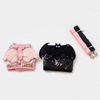 basic backpack - Batman Shape Decoration Shining Angel Design Pet Leash Dog Harness And Leash Sets Pet Backpacks Black Pink Color Dog Harness