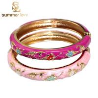 Cheap Chinese Crafts Cloisonne Enamel Flower Bangle Bracelet Charming Elegant Cuff Alloy Bracelets Fashion Jewelry For Kid Children Girls