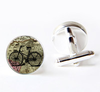 bicycle acessories - Silver plated Bike Cufflinks Silver Cufflinks Mens cufflinks Glass Cufflinks Mens Gifts Bicycle Acessories Art Cufflinks