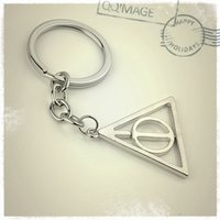 Wholesale 15pcs alloy vintage silver plated Harry Potter and the Deathly Hallows hollow out triangle round key chain key ring men Hot y003