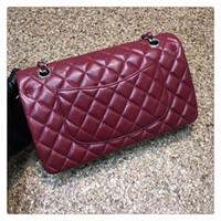 amber bronze - 2016 France Famous Brand Women Genuine Leather Handbag Original Quality Classic Flap Bag Lambskin CF Chain Bag cm Color Amber