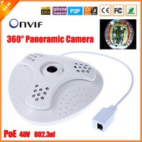 Wholesale 48V af PoE IP Camera Fish Eye Degree Panoramic Camera IP PoE MP MM Lens SONY IMX222 Full HD P IP Cam
