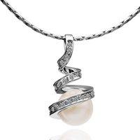 al por mayor collar de diamantes de imitación de la perla retorcida-Collar de la cadena del oro blanco Collar cristalino de la perla de la manera del Rhinestone de la joyería Collar pendiente de la gota del agua de la gota espiral torcida del agua para las muchachas