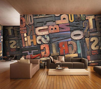 Wholesale Vintage Letter Wallpaper giant fresco retro nostalgia art bar living room wallpaper stereo symbol letter wallpaper