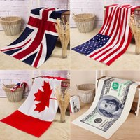 american canadian flags - Towel pure cotton Bath towel Beach Canadian flag American flag British flag Absorbent x140cm