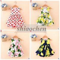 Wholesale Girl s Summer Lemon Dresses Print Big Bowknot Dress Baby Cotton Fashion Dress Princess Tutu Dress Sweet Lemon Dresses Kids Clothing B306