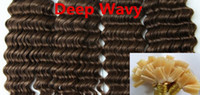 Cheap AAAAA Grade Deep Wavy 1g*200s 10''-28'' Flat Tip Prebonded Black Brown Blonde Mixed Ombre Color 100% Real Indian Remy Human Hair Extensions