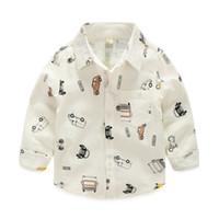 Wholesale Christmas New Kids Boys Cars Print Cotton Fall Shirts Long Sleeve Western Cute Boys Fashion Tops