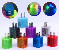 Wholesale LED Light Home Charger US EU Plug Transparent Dual USB Wall Charger A A For Samsung S7 LG Tablet iPad iPhone