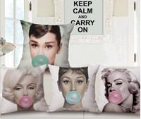 audrey hepburn paintings - Bubble Gum Beauty Audrey Hepburn Marilyn Monroe Paintings Emoji Pillow Massager Decorative Pillows Case Cover Home Decor Gift