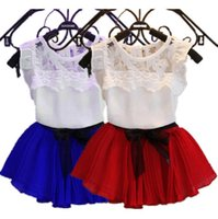 Wholesale Solid Colorful Shirt - Fashion children girl Pleated Skirts + Tops Tees kids 2 piece Clothing Sets party outfit suit T shirt short dress 2Y-7Y colorful xmas gift