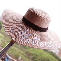 Wholesale Embroidery letters Hats for women Beach Head wear New fashion sun hat colors bowkont Summer Beach Sun Straw Panama Hats Summer caps