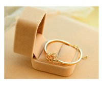 Wholesale Fashion Graceful Crystal Flower Patterned Bangle Gold Filled Cuff Chain Bracelet Jewelry Fit Party Best Gift For Women