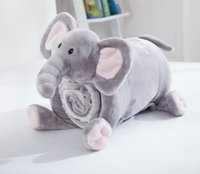 Wholesale Little Miracles Snuggle Me Sherpa Plush Baby Blanket Pillow Elephant children cute animals blanket pillow Raschel Blanket