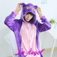 Wholesale Adults Flannel Onesie Pajamas Cartoon Animal Purple Cat Sailor Moon Luna Pijamas Cosplay Party Costume Sleepwear Pyjamas Sets