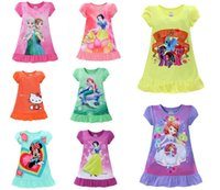 beach pajamas - 8 style girls cartoon dresses Elsa Anna Mermaid Sofia Snow White Minnie my little pony KT kids pajamas dress polyester nightgowns sleepwear