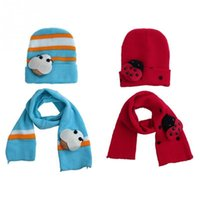 Wholesale Newest Toddler Infant Baby Kid Boy Girl Warm Winter Hat Head Cap with Scarf Sets Colors