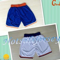 Wholesale New Material Shorts Carmelo Anthony Basketball Shorts New York Anthony Sports Shorts Blue White