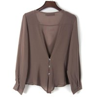 Wholesale 1Pc Womens Chiffon Casual Blouse Fashion Irregular Loose Long Sleeve Tops V Neck Lady Clothes Plus Size