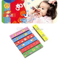 Wholesale 1pc Wooden Painted Harmonica Kids Musical Instrument Educational Music Toy A00066 BARD