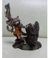 Cheap New HOT 14cm Guardians of the Galaxy Groot & Rocket Raccoon Boxed PVC Action Figure Collectible Model Toy free