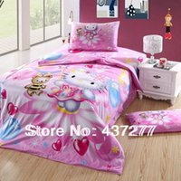 baby girl comforter sets - Baby girl hello kitty pink cotton bedding sets bedclothes twin full with duvet cover sheets comforter bed sets pc textile