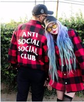 Wholesale Spring and autumn anti social social club Classic Plaid Shirts Long Sleeve Thicken hawaiian Comfort Soft Flannel fear of god Clothes shirt