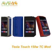 Wholesale Tesla Touch TC Box Mod w vape mods with touch screen and volts maximum output Ti Ni200 SS TCR VW Mode original VS Sigelei T150 mod