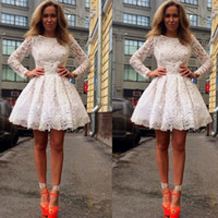 Wholesale White Cocktail Party Dresses Long Sleeve Lace Short Mini A Line Sexy Special Occasions Gowns Homecoming Dress