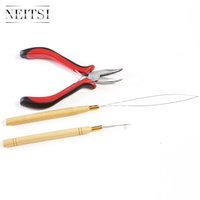 Wholesale Neitsi Kit for Micro Ring Link Feather Hair Extensions pc Pliers Micro Pulling Needle Loop Threader Support