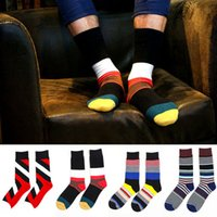 Wholesale Men s Colorful Dress Casual Socks Colorful Stripes Pattern Designer Sock Fashion Happy Creative Sport