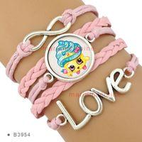 cupcake charm - Infinity Pink Shopkins Bracelet Kooky Cookie Cupcake Queen Lippy Lips Tiara Wishes BATHTUB Donut Tutu Cute Bracelet Custom Drop Shipping