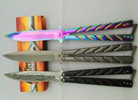 Knives benchmade camping - benchmade balisong Mtech rainbow grey titanium damas pattern jilt knife Free swinging Knife survival hunting knife camping knives